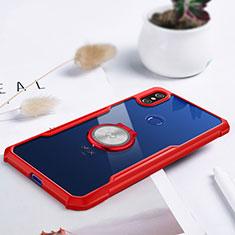 Coque Ultra Slim Silicone Souple Housse Etui Transparente avec Support Bague Anneau Aimante Magnetique S01 pour Xiaomi Mi Mix 3 Rouge