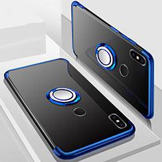 Coque Ultra Slim Silicone Souple Housse Etui Transparente avec Support Bague Anneau Aimante Magnetique S01 pour Xiaomi Redmi 6 Pro Bleu