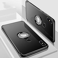 Coque Ultra Slim Silicone Souple Housse Etui Transparente avec Support Bague Anneau Aimante Magnetique S01 pour Xiaomi Redmi 6 Pro Noir