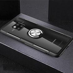 Coque Ultra Slim Silicone Souple Housse Etui Transparente avec Support Bague Anneau Aimante Magnetique S02 pour Huawei Mate 20 Pro Mixte