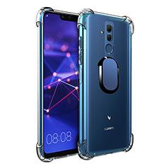 Coque Ultra Slim Silicone Souple Housse Etui Transparente avec Support Bague Anneau Aimante S01 pour Huawei Maimang 7 Bleu