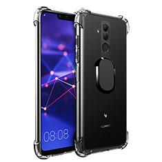 Coque Ultra Slim Silicone Souple Housse Etui Transparente avec Support Bague Anneau Aimante S01 pour Huawei Mate 20 Lite Noir