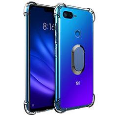 Coque Ultra Slim Silicone Souple Housse Etui Transparente avec Support Bague Anneau Aimante S01 pour Xiaomi Mi 8 Lite Bleu