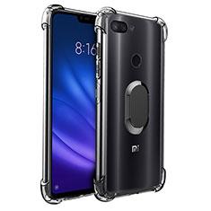 Coque Ultra Slim Silicone Souple Housse Etui Transparente avec Support Bague Anneau Aimante S01 pour Xiaomi Mi 8 Lite Noir