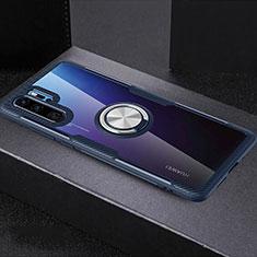 Coque Ultra Slim Silicone Souple Housse Etui Transparente avec Support Bague Anneau C03 pour Huawei P30 Pro Bleu