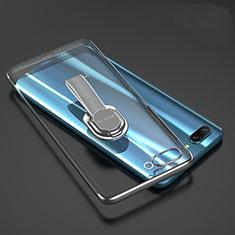 Coque Ultra Slim Silicone Souple Housse Etui Transparente avec Support Bague Anneau pour Huawei Honor 10 Gris