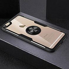 Coque Ultra Slim Silicone Souple Housse Etui Transparente avec Support Bague Anneau R01 pour Apple iPhone 6S Noir