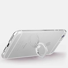Coque Ultra Slim Silicone Souple Housse Etui Transparente avec Support Bague Anneau S01 pour Apple iPhone 6 Argent