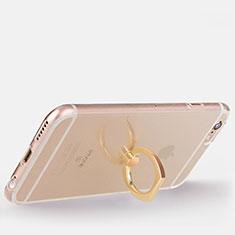 Coque Ultra Slim Silicone Souple Housse Etui Transparente avec Support Bague Anneau S01 pour Apple iPhone 6 Or