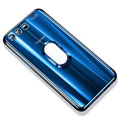 Coque Ultra Slim Silicone Souple Housse Etui Transparente avec Support Bague Anneau S01 pour Huawei Honor 9 Bleu