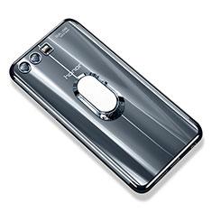 Coque Ultra Slim Silicone Souple Housse Etui Transparente avec Support Bague Anneau S01 pour Huawei Honor 9 Premium Gris