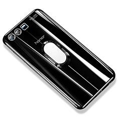 Coque Ultra Slim Silicone Souple Housse Etui Transparente avec Support Bague Anneau S01 pour Huawei Honor 9 Premium Noir