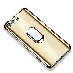 Coque Ultra Slim Silicone Souple Housse Etui Transparente avec Support Bague Anneau S01 pour Huawei Honor 9 Premium Or