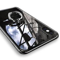 Coque Ultra Slim Silicone Souple Housse Etui Transparente avec Support Bague Anneau V01 pour Apple iPhone Xs Argent
