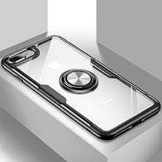 Coque Ultra Slim Silicone Souple Housse Etui Transparente avec Support S01 pour Apple iPhone 7 Plus Noir