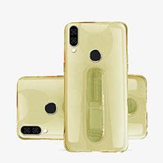 Coque Ultra Slim Silicone Souple Housse Etui Transparente avec Support S01 pour Huawei P20 Lite Or