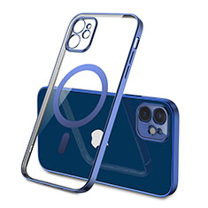 Coque Ultra Slim Silicone Souple Transparente avec Mag-Safe Magnetic Magnetique M01 pour Apple iPhone 12 Bleu