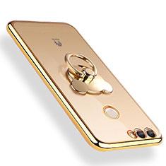 Coque Ultra Slim Silicone Souple Transparente avec Support Bague Anneau pour Huawei Enjoy 8 Plus Or