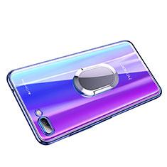 Coque Ultra Slim Silicone Souple Transparente avec Support Bague Anneau pour Huawei Honor 10 Bleu