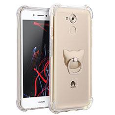 Coque Ultra Slim Silicone Souple Transparente avec Support Bague Anneau pour Huawei Honor 6C Clair