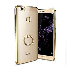 Coque Ultra Slim Silicone Souple Transparente avec Support Bague Anneau pour Huawei Honor Note 8 Or