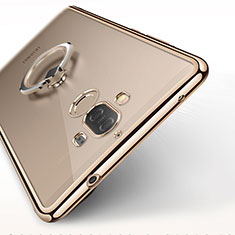 Coque Ultra Slim Silicone Souple Transparente avec Support Bague Anneau pour Huawei Mate 9 Or