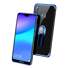 Coque Ultra Slim Silicone Souple Transparente avec Support Bague Anneau pour Huawei Nova 3e Bleu