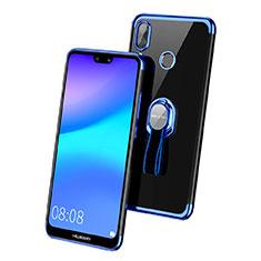 Coque Ultra Slim Silicone Souple Transparente avec Support Bague Anneau pour Huawei P20 Lite Bleu