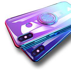Coque Ultra Slim Silicone Souple Transparente avec Support Bague Anneau pour Xiaomi Mi 8 Bleu