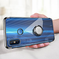 Coque Ultra Slim Silicone Souple Transparente avec Support Bague Anneau pour Xiaomi Mi 8 Noir