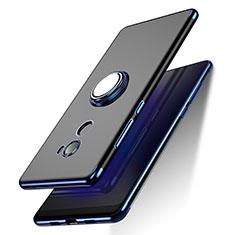 Coque Ultra Slim Silicone Souple Transparente avec Support Bague Anneau pour Xiaomi Mi Mix 2 Bleu