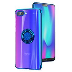 Coque Ultra Slim Silicone Souple Transparente avec Support Bague Anneau S01 pour Huawei Honor 10 Bleu