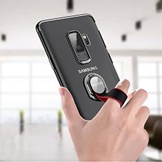 Coque Ultra Slim Silicone Souple Transparente avec Support Bague Anneau T01 pour Samsung Galaxy S9 Plus Clair