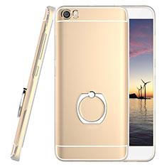 Coque Ultra Slim Silicone Souple Transparente et Support Bague Anneau pour Xiaomi Mi 5 Or