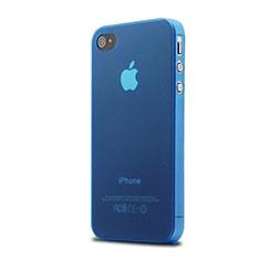 Coque Ultra Slim Silicone Souple Transparente Mat pour Apple iPhone 4 Bleu