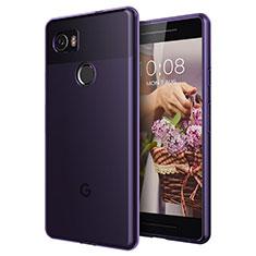 Coque Ultra Slim TPU Souple Transparente pour Google Pixel 2 XL Violet