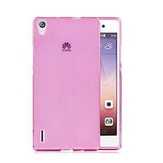 Coque Ultra Slim TPU Souple Transparente pour Huawei P7 Dual SIM Rose