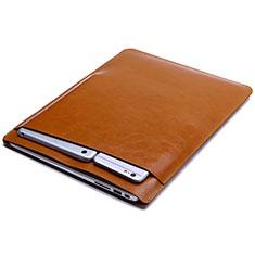 Double Pochette Housse Cuir L01 pour Huawei Matebook D14 (2020) Orange