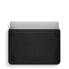 Double Pochette Housse Cuir L02 pour Apple MacBook Pro 15 pouces Retina Noir