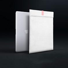 Double Pochette Housse Cuir L03 pour Apple MacBook Pro 15 pouces Retina Blanc