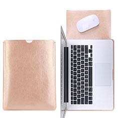 Double Pochette Housse Cuir L17 pour Apple MacBook Pro 13 pouces Or