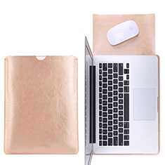 Double Pochette Housse Cuir L17 pour Apple MacBook Pro 15 pouces Retina Or