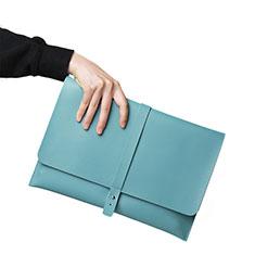 Double Pochette Housse Cuir L18 pour Apple MacBook 12 pouces Bleu Ciel