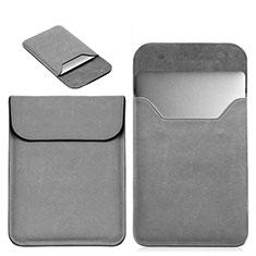 Double Pochette Housse Cuir L19 pour Apple MacBook 12 pouces Gris