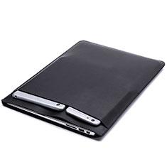 Double Pochette Housse Cuir L20 pour Apple MacBook 12 pouces Noir