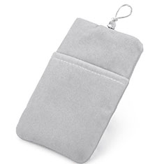Double Pochette Housse Velour Universel pour Huawei Honor Magic 2 Argent