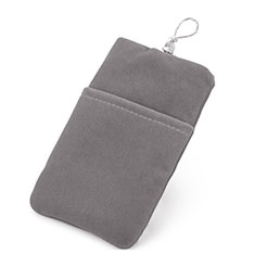 Double Pochette Housse Velour Universel pour Huawei Honor Magic 2 Gris