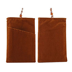 Double Pochette Housse Velour Universel pour Huawei Honor Magic 2 Marron