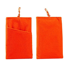 Double Pochette Housse Velour Universel pour Wiko Barry Orange