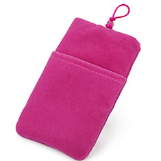 Double Pochette Housse Velour Universel pour Orange Neva 80 4g Rose Rouge